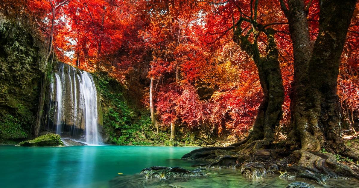 A waterfall in Thailand's Erawan National Park.