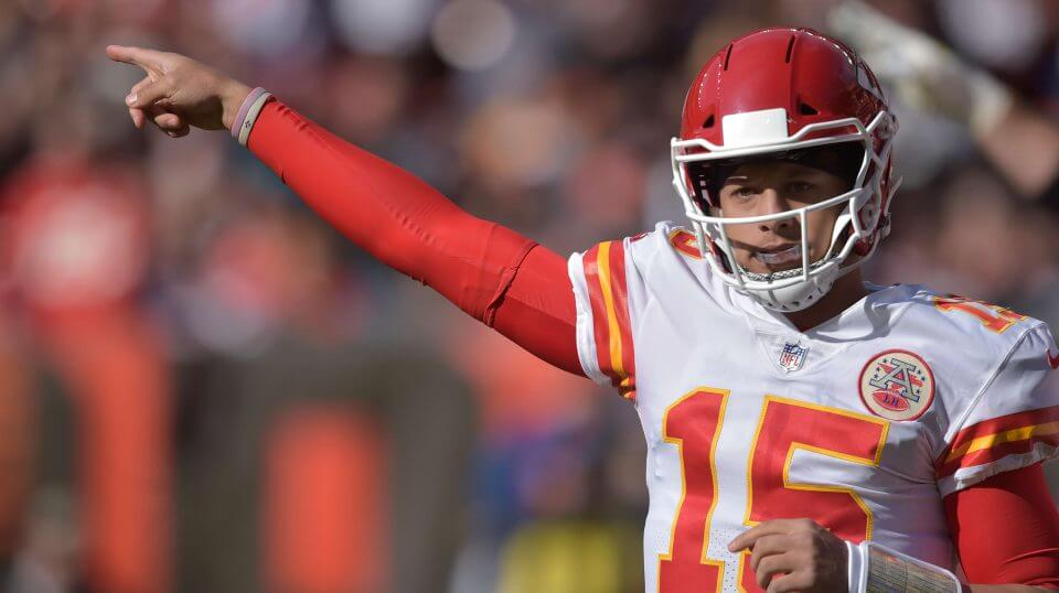 Kansas City Chiefs quarterback Patrick Mahomes in action Sunday against the Cleveland Browns.