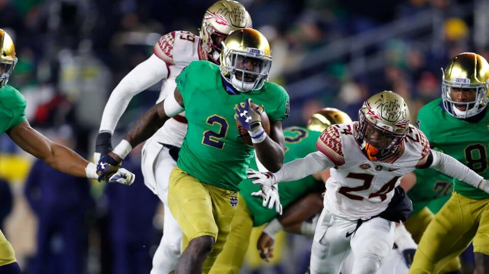 Notre Dame running back Dexter Williams runs for a touchdown against Florida State on Saturday in South Bend, Indiana.