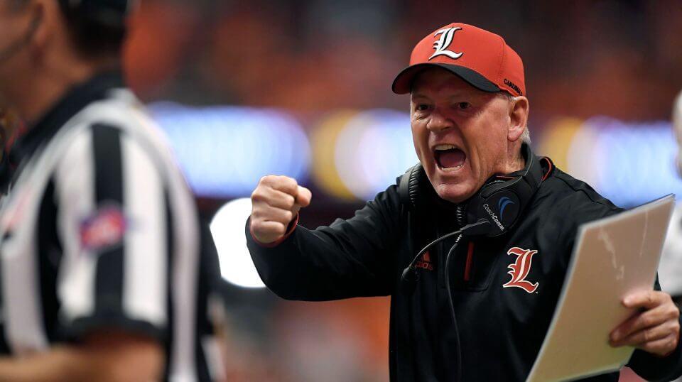 Louisville head coach Bobby Petrino