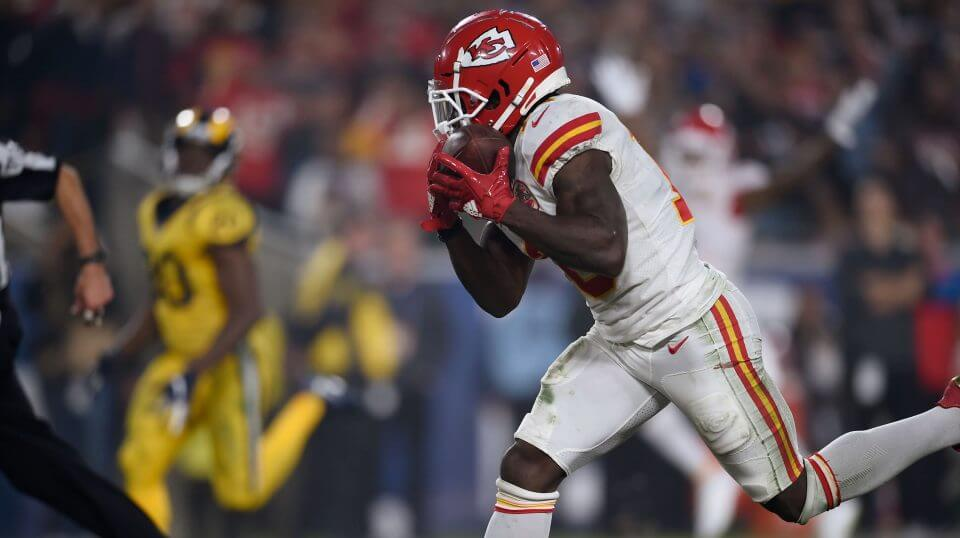 Kansas City Chiefs wide receiver Tyreek Hill hauls in a touchdown catch Monday against the Los Angeles Rams