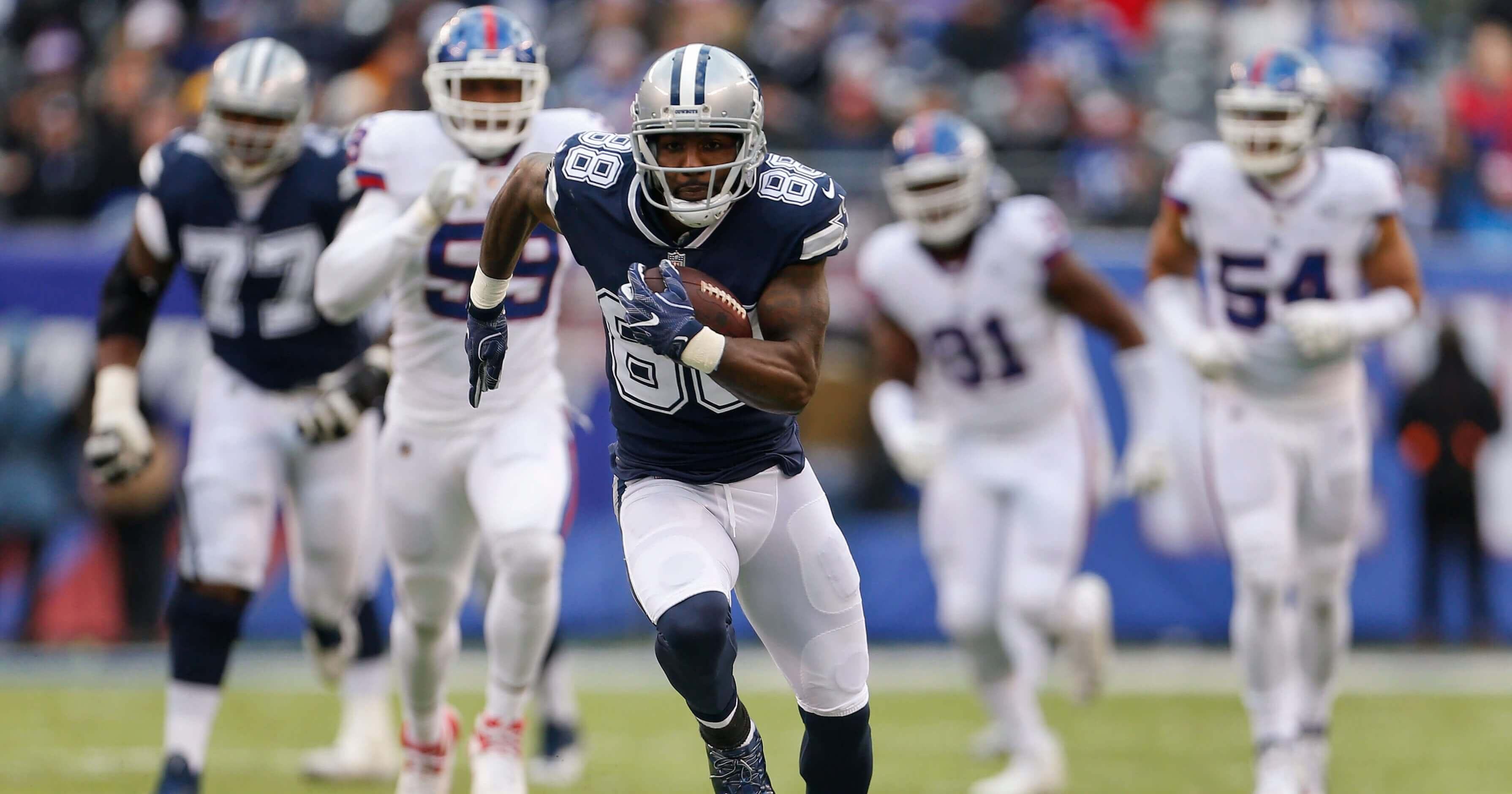 Wide receiver Dez Bryant runs for a touchdown last year as a member of the Dallas Cowboys.