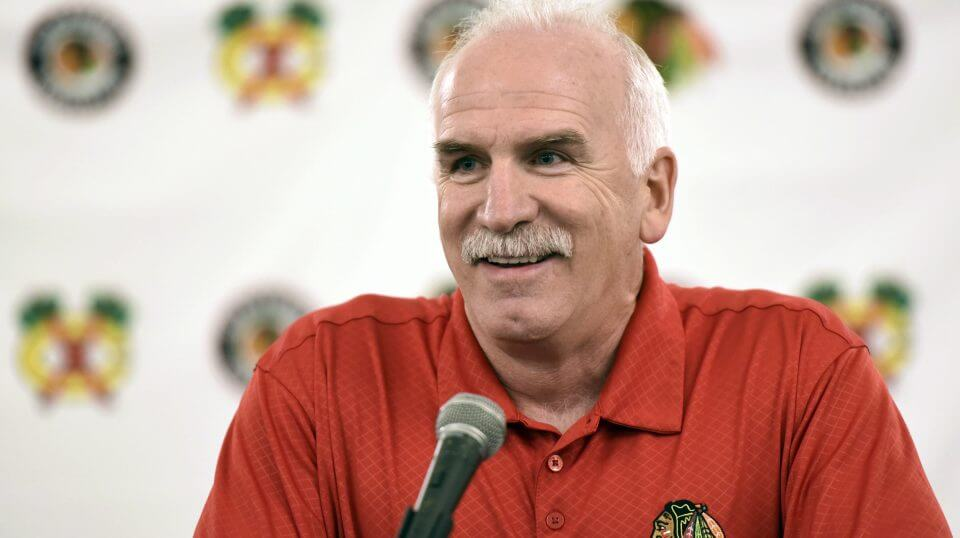 Joel Quenneville speaks during a news conference in 2017.