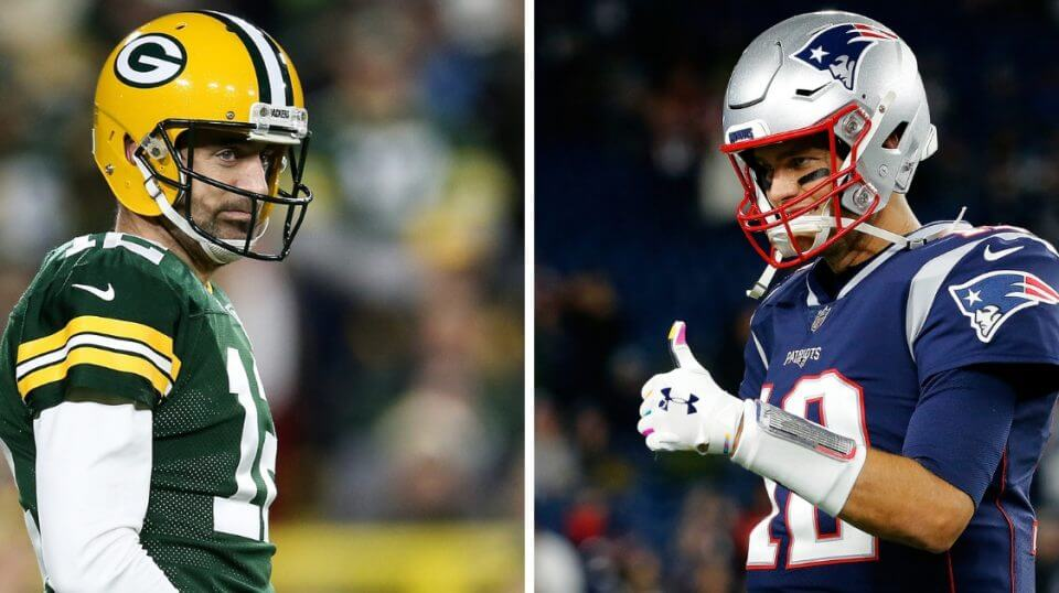 Green Bay Packers quarterback Aaron Rodgers, left, and New England Patriots quarterback Tom Brady, right