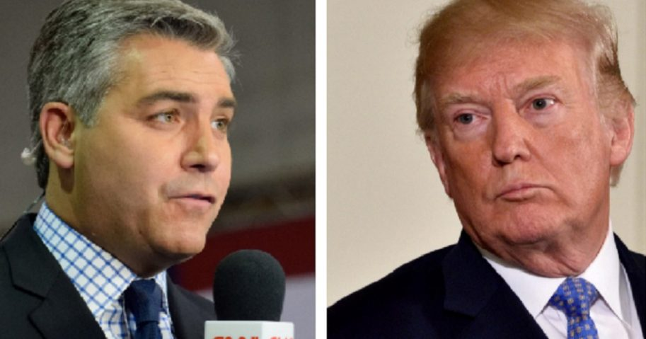 CNN correspondent Jim Acosta, left; and President Donald Trump, right.