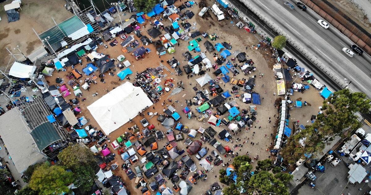 Aerial view of caravan tents
