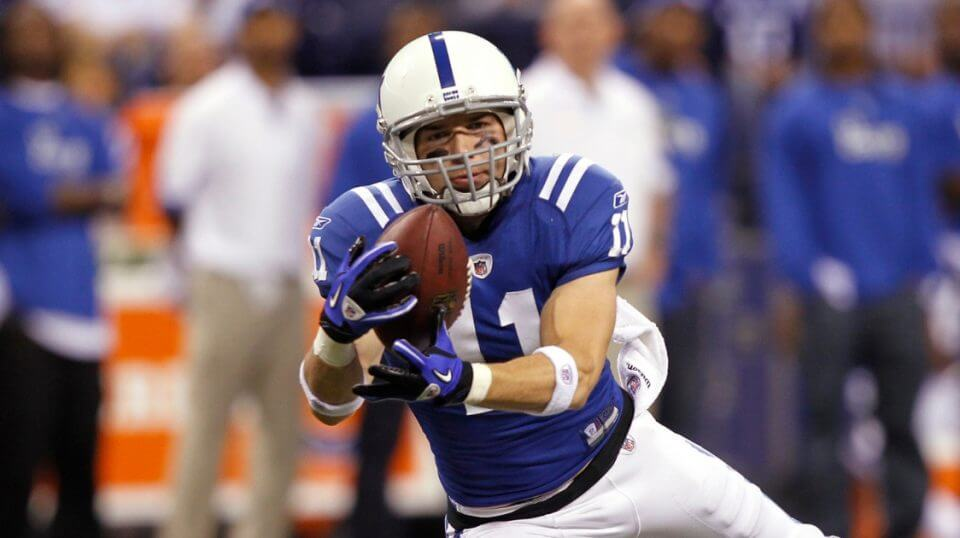 Anthony Gonzalez catches a pass for the Colts in 2010