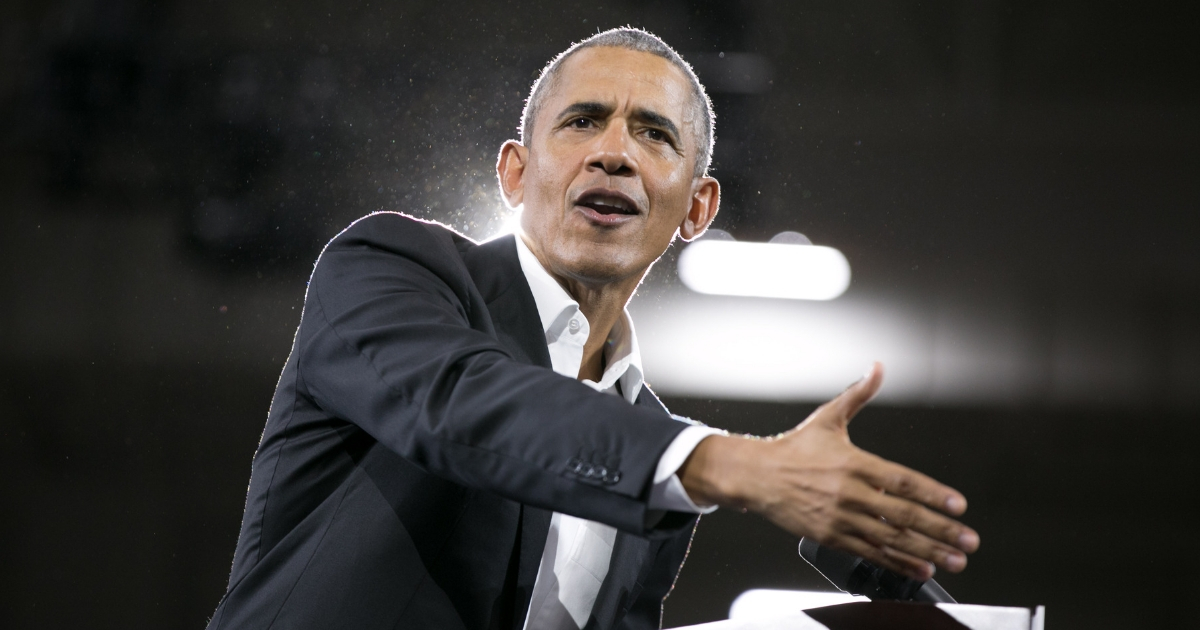 Former U.S. President Barack Obama addresses the crowd in support of Georgia Democratic Gubernatorial candidate Stacey Abrams during a campaign rally at Morehouse College on Nov. 2, 2018.
