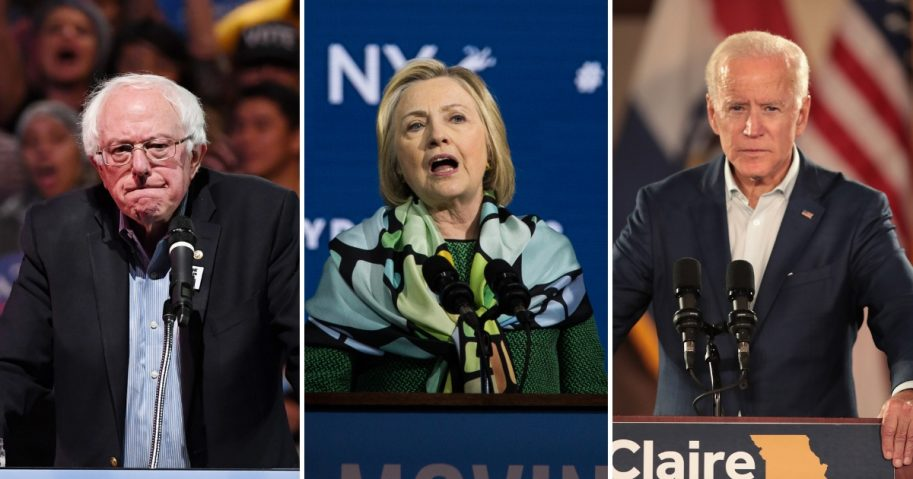 Bernie Sanders, left, Hillary Clinton, center, Joe Biden, left.