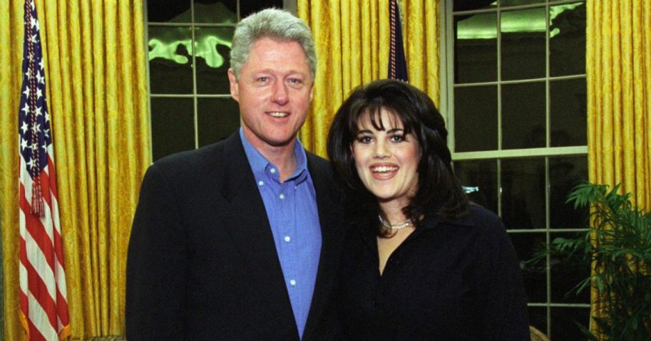 President Bill Clinton with White House intern Monica Lewinsky.