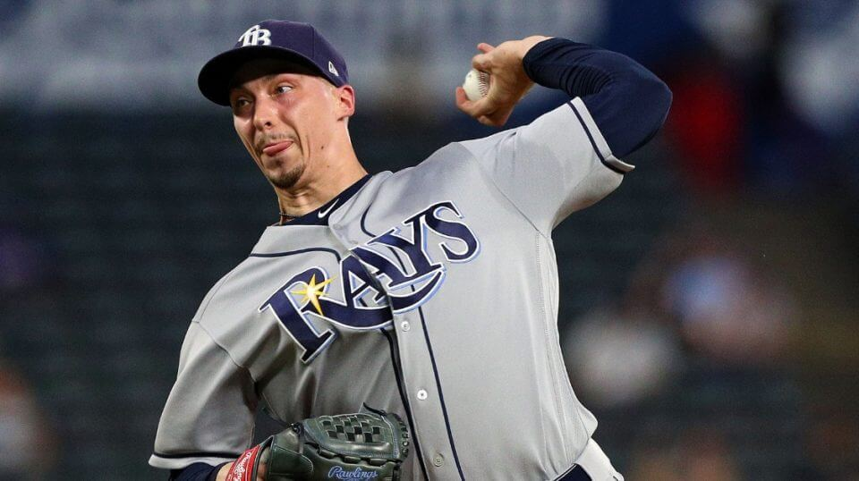Blake Snell of the Tampa Bay Rays pitches against the Texas Rangers on Sept. 18.
