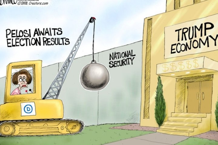 Nancy Pelosi seen behind the controls of a wrecking ball, waiting to begin knocking down national security and the Trump economy