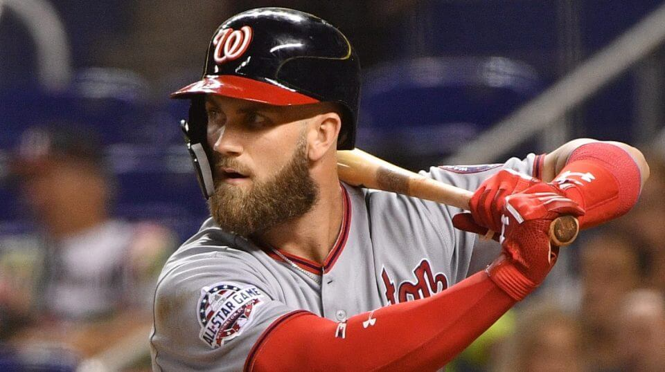Nationals slugger Bryce Harper bats against the Marlins on Sept. 18 in Miami.