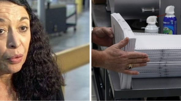 Palm Beach County, Florida, Elections Supervisor Susan Bucher, left; stack of ballots, right.