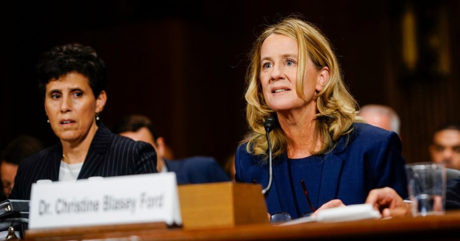Christine Blasey Ford, with lawyer Debra S. Katz