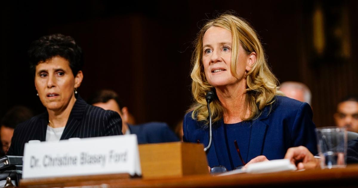 Christine Blasey Ford, with lawyer Debra S. Katz