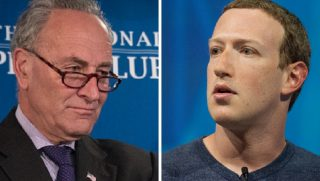 Senate Minority Leader Chuck Schumer, left; and Facebook CEO Mark Zuckerberg, right.