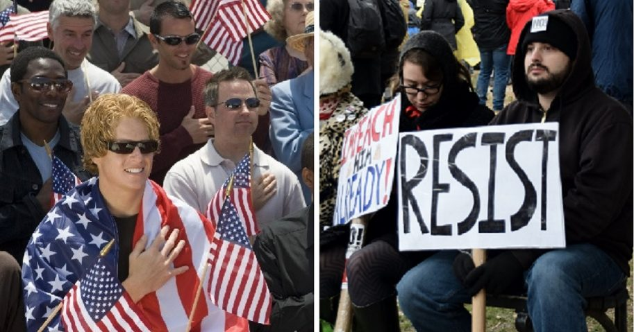 "Patriotic, smiling conservatives, right, hold their hands on their hearts for ""The Star-Spangled Banner""; right, glum progressives hold ""impeach"" and ""reisist"" signs."