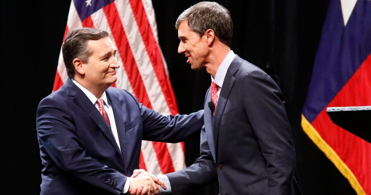 Republican Sen. Ted Cruz of Texas, left, shakes hands with Democratic challenger Beto O'Rourke after a debate at SMU on Sept. 21.