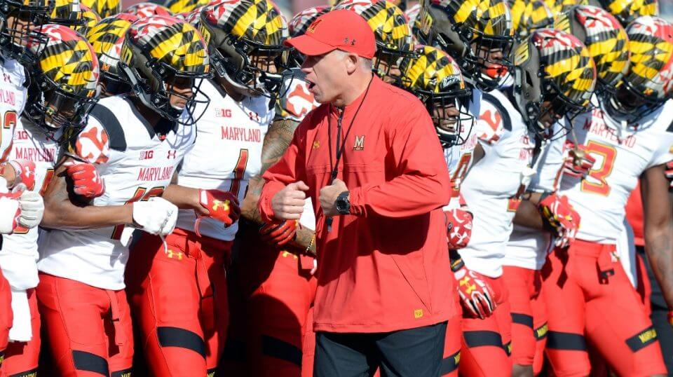 Maryland coach D.J. Durkin fires up his team before a September 2017 game against Minnesota.