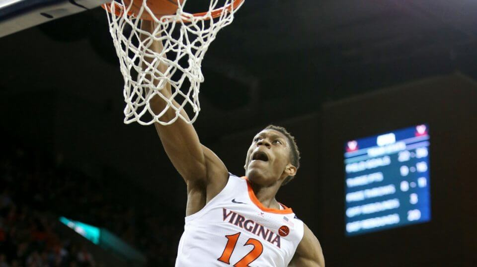 De'Andre Hunter of the Virginia Cavaliers dunks against the Coppin State Eagles during a Nov. 16 game in Charlottesville.