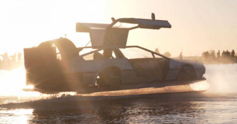 A replica of the famous DeLorean automobile from 'Back to the Future.'