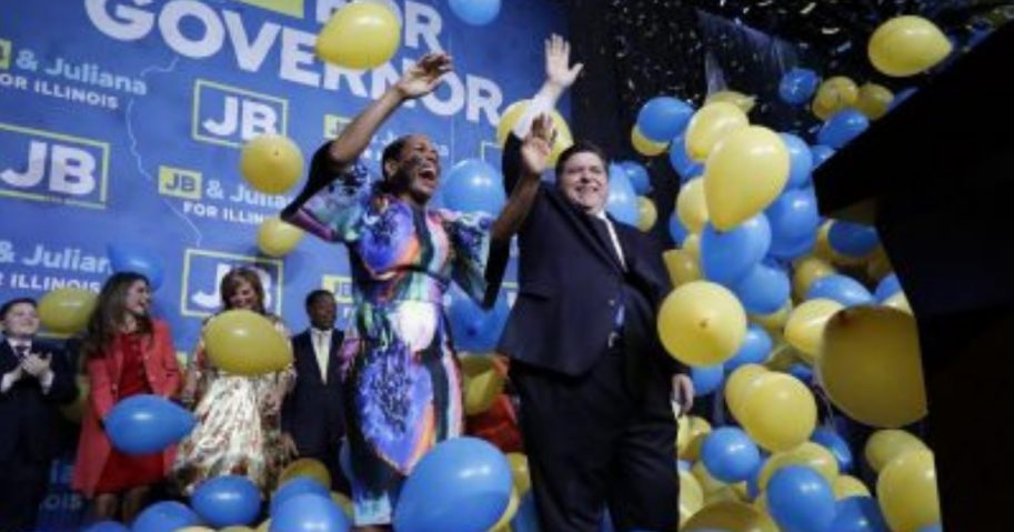 Democratic gubernatorial candidate J.B. Pritzker, right, and his running mate Lt. Governor candidate Juliana Stratton celebrate as they wave to supporters after they won over Republican incumbent Bruce Rauner last week.