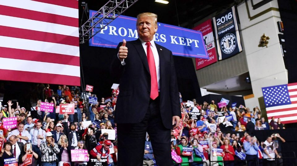 President Donald Trump gives a thumbs up during a rally Sept. 29 in West Virginia.