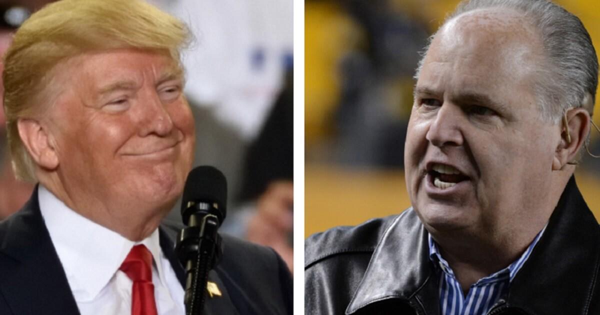 President Donald Trump, left; and Rush Limbaugh, right.