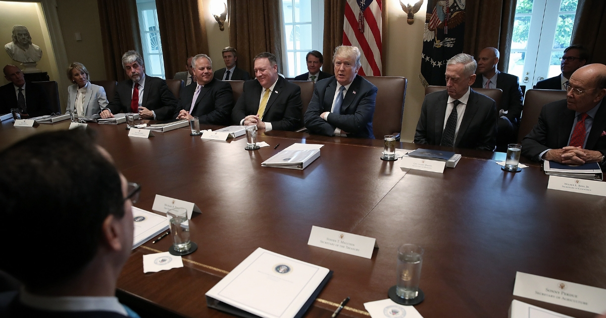U.S. President Donald Trump speaks during a cabinet meeting at the White House June 21, 2018, in Washington, D.C.