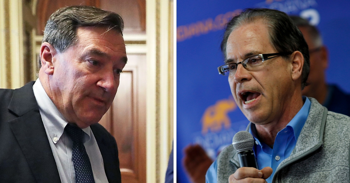 Democratic Sen. Joe Donnelly of Indiana, left, and Republican challenger Mike Braun.