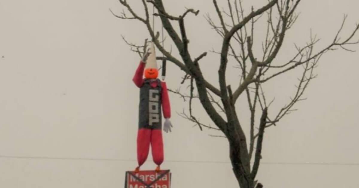 A doll representing Republican Rep. Marsha Blackburn was hung in effigy last week in Tennessee.