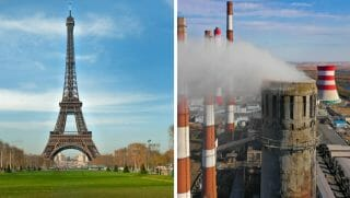 The Eiffel Tower, left; a smokestack, right.