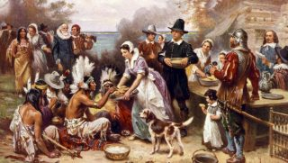 The first Thanksgiving is depicted in this 1932 painting by Jean Louis Gerome Ferris.