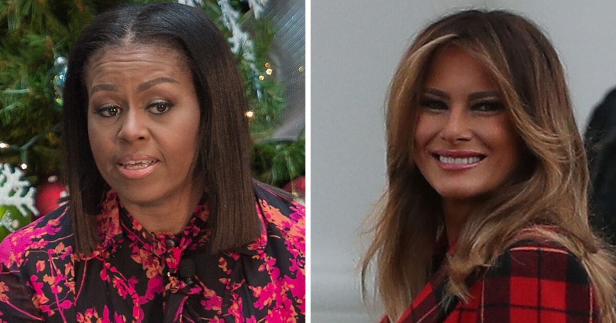Former first lady Michelle Obama, left, and current first lady Melania Trump.
