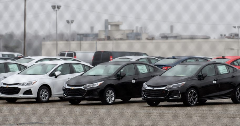 Cars sit outside the GM Lordstown Plant in Lordstown, Ohio, on Monday.