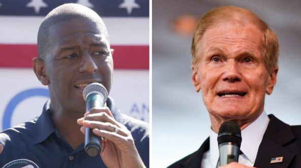 Tallahasse, Florida, Mayor Andrew Gillum, left; and Florida Sen. Bill Nelson, right.