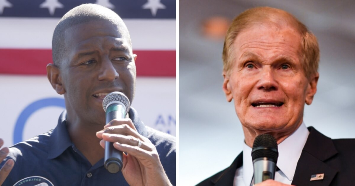 Tallahasse, Florida, Mayor Andrew Gillum, left; and Florida Sen. Bill Nelson, right.