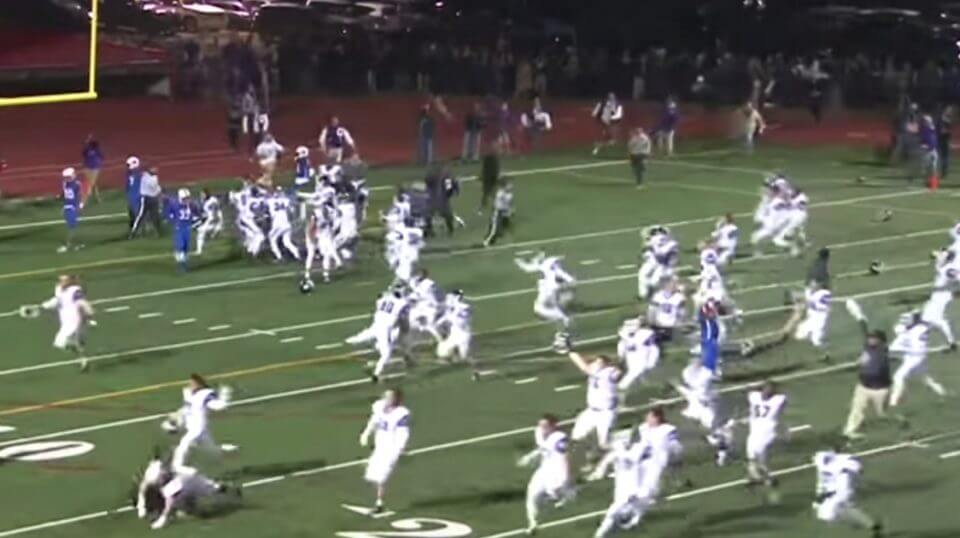 Gonzaga celebrates after Caleb Williams' Hail Mary pass gave the Eagles a victory over DeMatha.