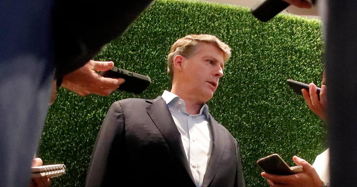 New York Yankees owner Hal Steinbrenner speaks to reporters Wednesday in Atlanta.