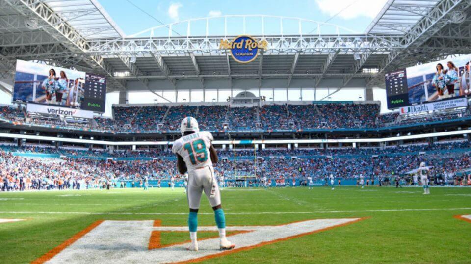 Jakeem Grant of the Miami Dolphins awaits a kickoff at Hard Rock Stadium.