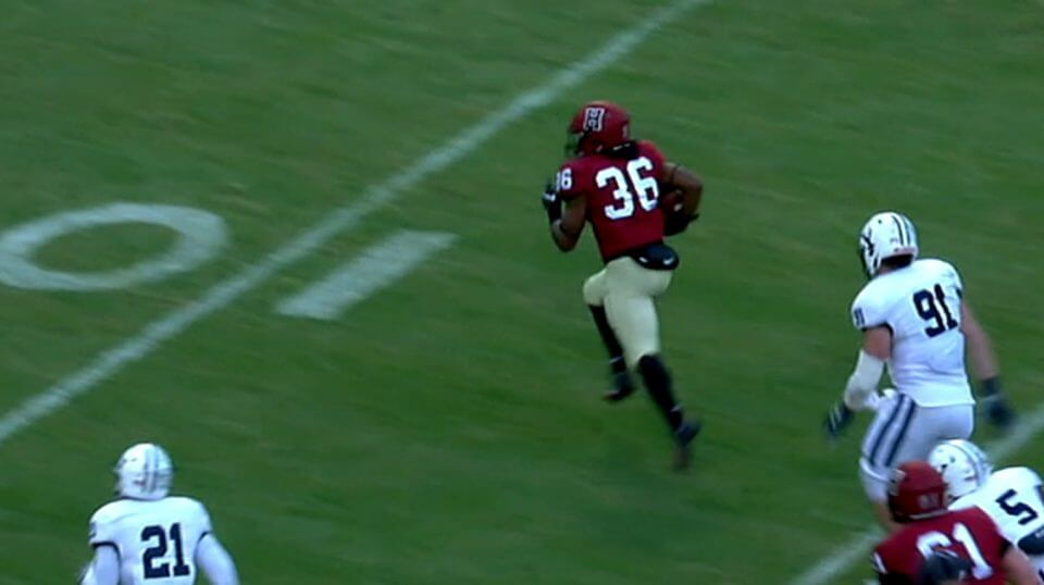 Harvard's Devin Darrington running for an apparent touchdown against Yale