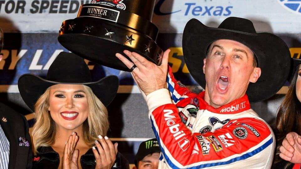 Kevin Harvick celebrates in Victory Lane after winning at Texas Motor Speedway on Sunday.