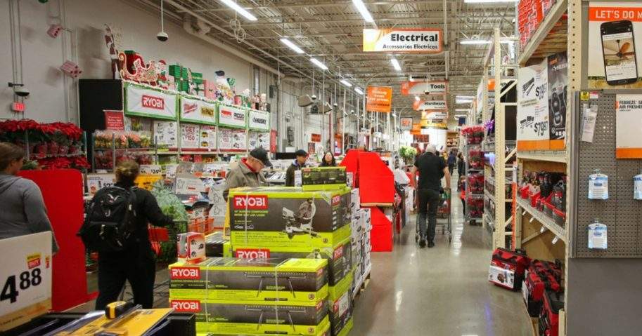People shop at a Home Depot store
