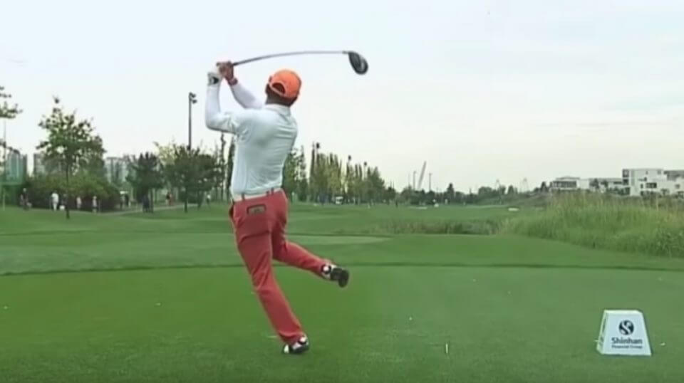 South Korea's Hosung Choi has an unusual, but effective, swing.