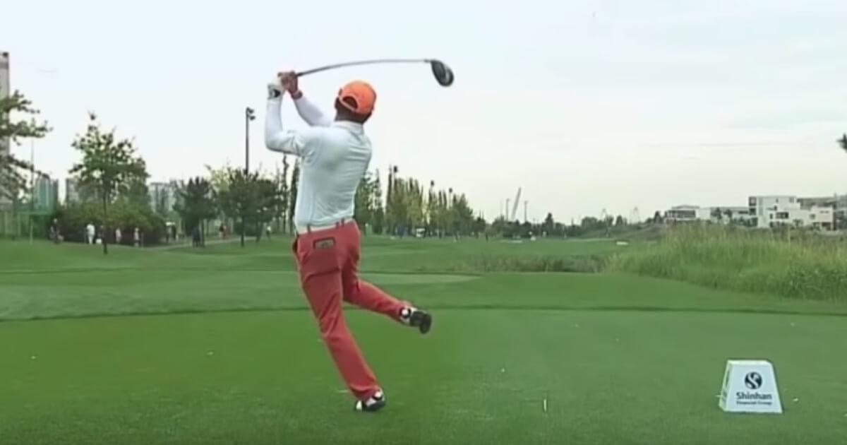South Korea's Hosung Choi has an unusual, but effective, swing.