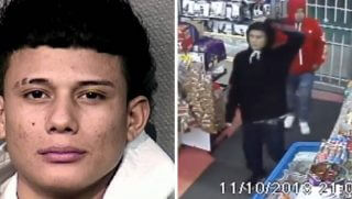 Mug shot of murder suspect, left; still from surveillance video of robbery, right.