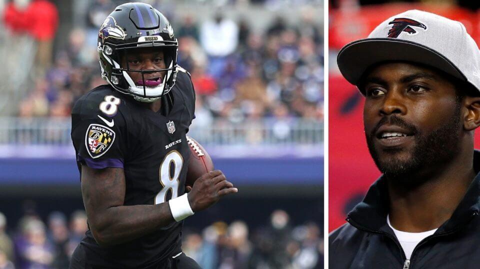 Baltimore Ravens quarterback Lamar Jackson, left, and former Atlanta Falcons quarterback Michael Vick.