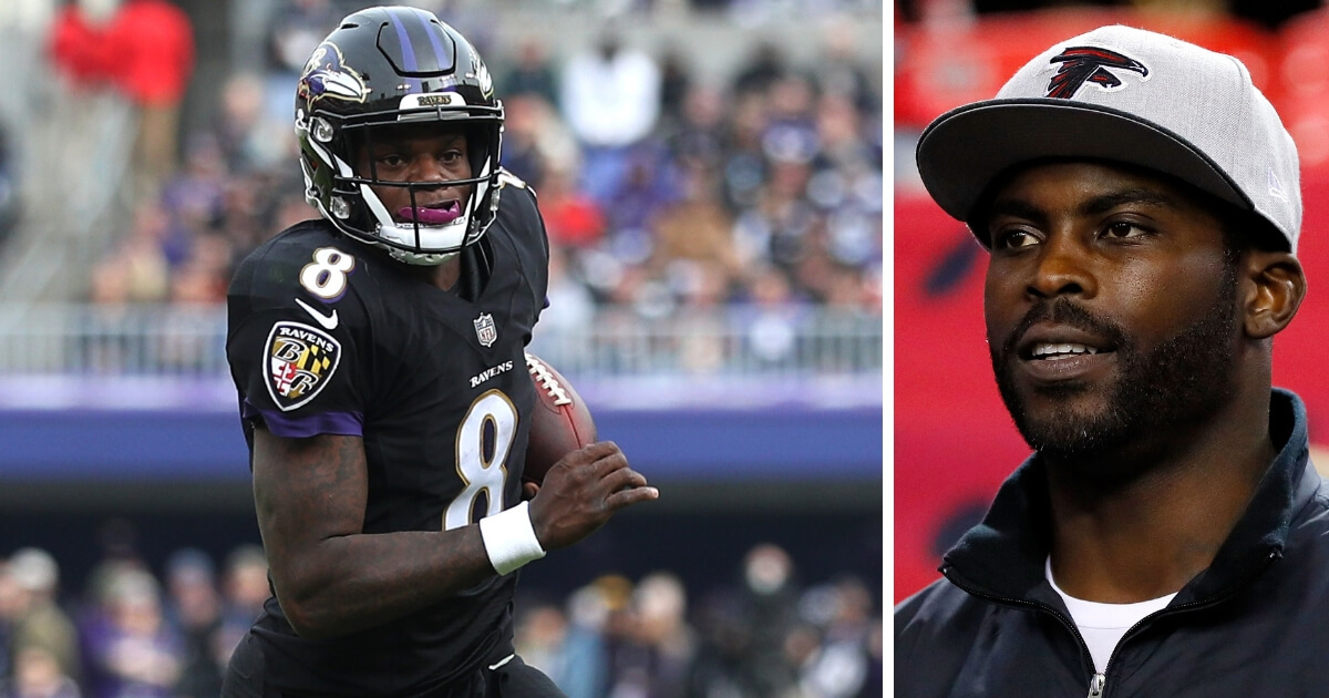 Baltimore Ravens quarterback Lamar Jackson, left, and former Atlanta Falcons quarterback Michael Vick.