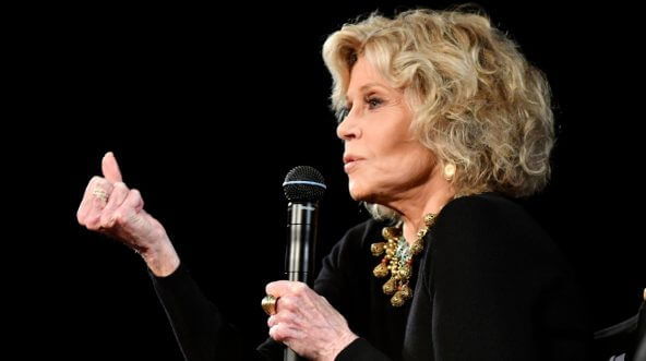 Jane Fonda speaks at an event in Paris on Oct. 22.